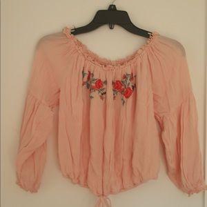 Hollister Pink off the shoulder Flower Top